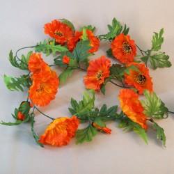Artificial Poppies Garland Orange 180cm - P194 K1