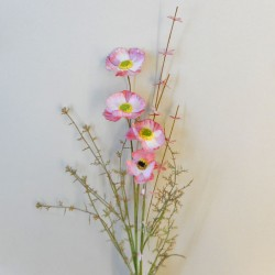 English Meadow Artificial Flowers Pink Poppies - P281 FF2