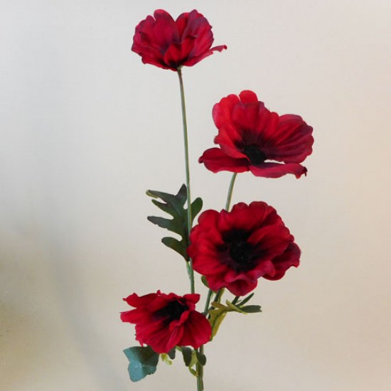 Artificial Poppies Red Black - P234 K4