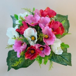 Artificial Poppy Bunch Pink and Cream - P064 L1