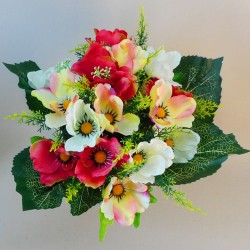 Artificial Poppy Bunch Red and Cream - P058 L1