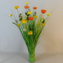 Grass Bundle with Poppies Orange Yellow - POP009