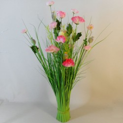 Grass Bundle with Poppies Pink - POP008