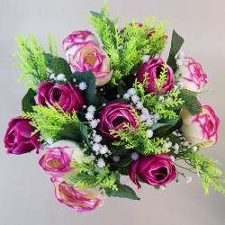 Artificial Ranunculus and Gypsophila Bouquet Dark Pink and Cream - R562