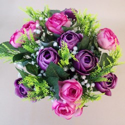 Artificial Ranunculus and Gypsophila Bouquet Pink and Purple Flowers - R561 BX17