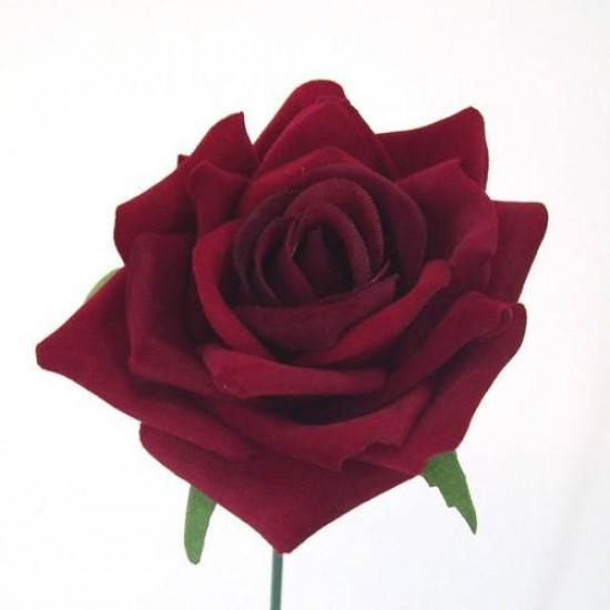Red Velvet Rose on Wire Stem - R043 M2