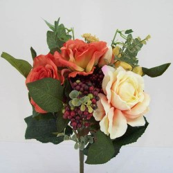 Artificial Roses and Berry Bunch Terracotta - R017 HH4
