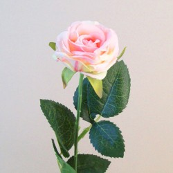Artificial Button Roses Stem Pink Peach - R685 P4