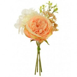Artificial Cabbage Roses and Hydrangea Bundle Peach - R119 Q4