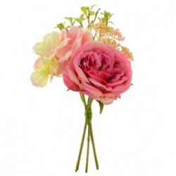 Artificial Cabbage Roses and Hydrangea Bundle Pink - R120 O1