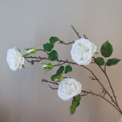 Artificial Cabbage Roses Branch Cream - R802 R1