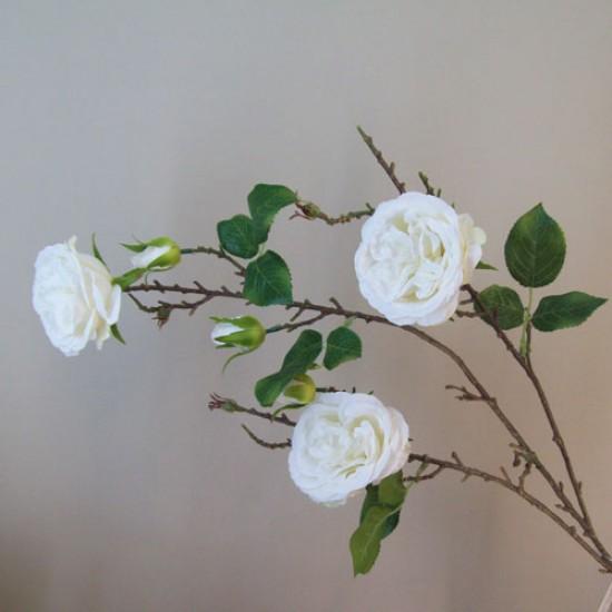 Artificial Cabbage Roses Branch Cream - R802 Q1