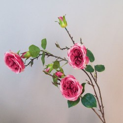 Artificial Cabbage Roses Branch Pink - R804 R1