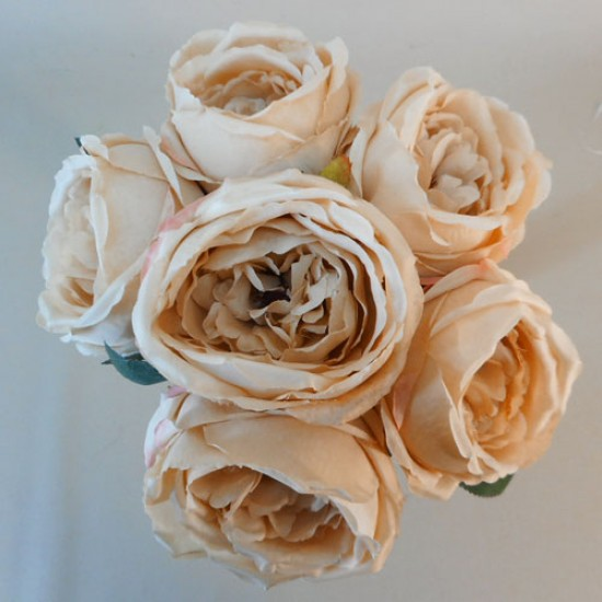 Artificial Cabbage Roses Posy Cappuccino - R768 M1