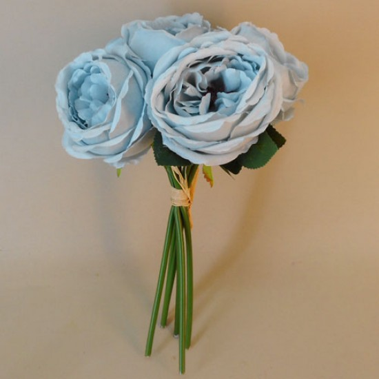 Artificial Cabbage Roses Posy Ice Blue - R769 R1