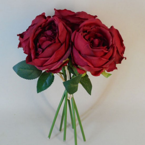Artificial Cabbage Roses Posy Red - R771 KK1