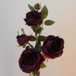 Artificial Cabbage Roses Spray Burgundy - R821 HH4