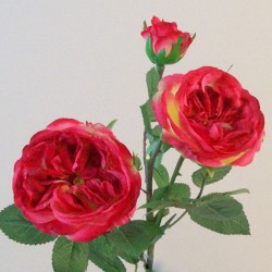 Artificial Cabbage Roses Spray Dark Pink - R818 N4
