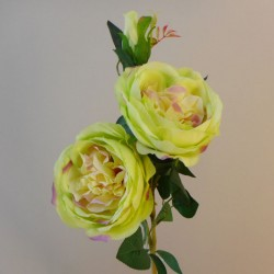 Artificial Cabbage Roses Spray Green Pink - R924 HH4