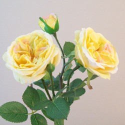 Artificial Cabbage Roses Spray Lemon Yellow - R819 N4