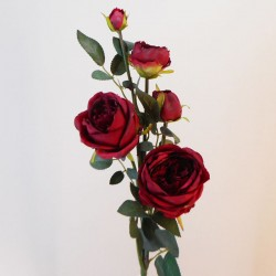 Artificial Cabbage Roses Spray Red - R040 O1