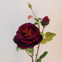 Artificial Cabbage Rose Wine - X19083 BAY3