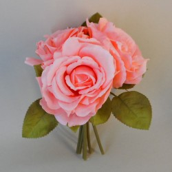 Artificial English Roses Bundle Mid Coral - R085 Q1
