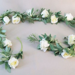 Eternity Roses and Leaves Garland Cream 183cm - R544 P4