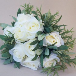 Artificial Eternity Roses and Leaves Bouquet Cream - R547 O4