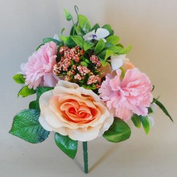 Roses Carnations and Hydrangeas Bunch Pink and Peach - R017B N2