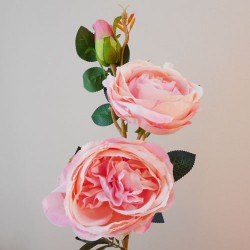 Artificial Cabbage Roses Pink Peach - R148 M1