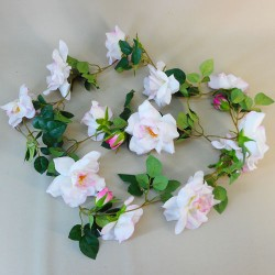 Artificial Flowers Garden Roses Garland Blush Pink - R891 N1