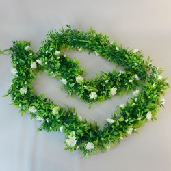 Artificial Flowers Garland - Cream Roses and Leaves - R898 T1