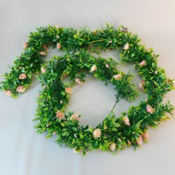 Artificial Flowers Garland - Pink and Peach Roses and Leaves - R895 T1