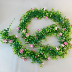 Artificial Flowers Garland - Pink Roses and Leaves - R897 T3