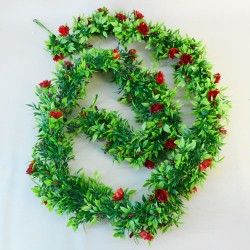 Artificial Flowers Garland - Red Roses and Leaves - R896 FRCL12