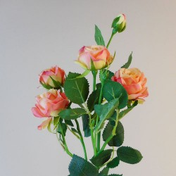 Artificial Flowers Rose Spray Pink Peach - R595 P3
