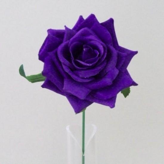 Artificial Silk Rose on Wire Stem Purple - R465 P3