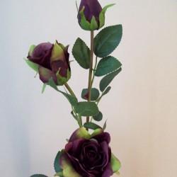 Artificial Roses Spray Aubergine Long Stem - R591 M4