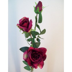 Artificial Roses Spray Burgundy Long Stem - R594 M4