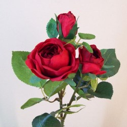 Artificial Old Roses Spray Red (Short) - R604