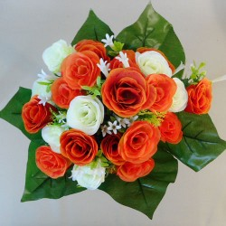Artificial Roses Stephanotis and Asparagus Posy Orange Cream - R020 Q1