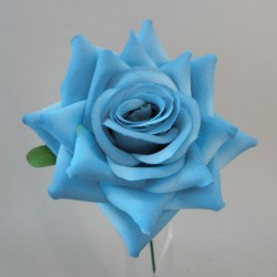 Artificial Silk Rose on Wire Stem Blue - R877 S3