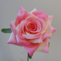 Artificial Silk Rose on Wire Stem Pink and Cream - R878 S3