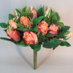 Artificial Rosebuds Bouquet Orange Peach x 26 28cm - R583 BB2