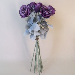 Artificial Roses Bouquet Aubergine Purple with Grey Green Leaves - R860 BX2