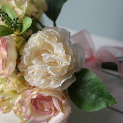 LilyJo Artificial Roses Wedding Bouquet Blush Pink and Cream - R609 LL4
