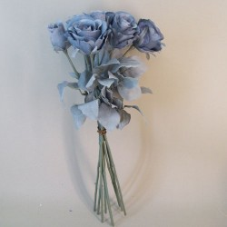 Artificial Roses Bouquet Dusky Blue with Grey Green Leaves - R862 BX5