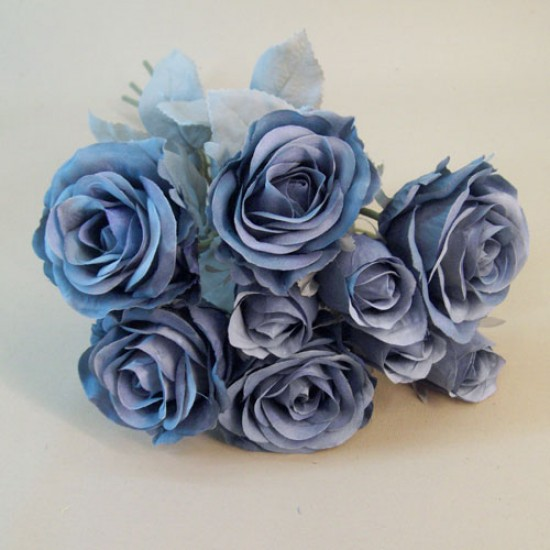 Artificial Roses Bouquet Dusky Blue With Grey Green Leaves Silk Flowers