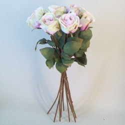 Artificial Roses Bouquet Pink Green - R742 O2